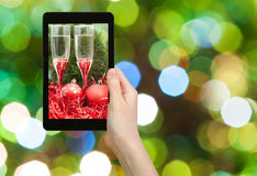 Photo Christmas still life on green background Royalty Free Stock Image