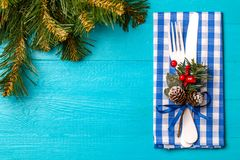 Photo of Christmas table with fork and knife Stock Photo