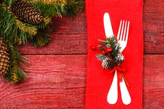 Photo of Christmas table with fork and knife Royalty Free Stock Images
