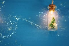Photo of Christmas tree in the masson jar garland light over wooden blue background. Photo of Christmas tree in the masson jar garland light over wooden blue stock photo