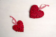 Photo of a Christmas tree with ornaments and decorations for Valentine's Day heart-shaped red color. Stock Photos