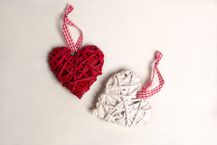 Photo of a Christmas tree with ornaments and decorations for Valentine's Day heart-shaped red and white color. Stock Photography