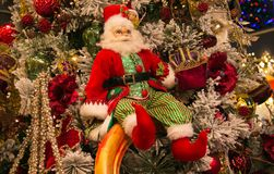 Christmas tree with Santa Claus Royalty Free Stock Photos