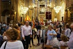 La Merced Church Service in Barcelona Spain. Photo of church service at la merced church in barcelona spain on 9/23/18. This is at the end of the church service stock photos