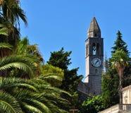 The church tower - Lopud Island. Photo of the church tower at Lopud Island - Elaphiti Islands - Dubrovnik - Croatia - July 2010 Royalty Free Stock Image