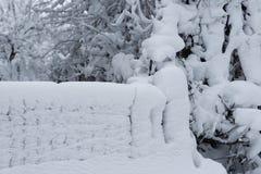 Fence under snow stock image