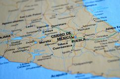 A photo of Ciudad de Mexico on a map.  royalty free stock photography