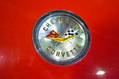 Photo of classic vintage Chevrolet Corvette trunk Emblem. Stock Image