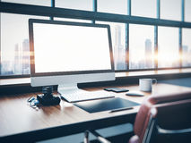 Photo of classic workspace with panoramic windows Royalty Free Stock Photo