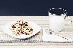 Photo Of Clear Mug Beside Plate With Cookies stock images