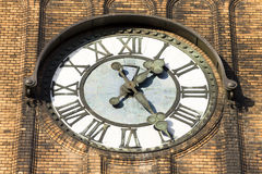 Photo of the clock of the Evangelical Christ' Church in Ostrava CZ Stock Photo