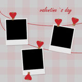 Photo on clothesline with hearts Royalty Free Stock Photos
