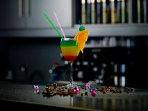 Cocktail at the bar. Photo cocktail stands on the bar stock images