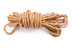 Photo of a coil of rope. Isolated on a white background Royalty Free Stock Photography