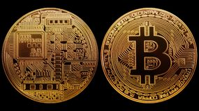 Photo Coin Gold Bitcoin isolated on black background. Concept cryptocurrency in financial world. Banking business Royalty Free Stock Images