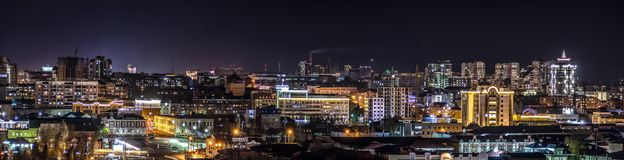 Photo of a cold night city. The photo shows a panorama of one of the most beautiful cities of Russia at night, Barnaul royalty free stock photography