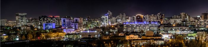 Photo of a cold night city. The photo shows a panorama of one of the most beautiful cities of Russia at night, Barnaul stock photography