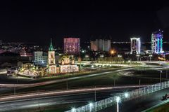 Photo of a cold night city. The photo shows a piece of night Barnaul and a very beautiful Temple royalty free stock photos