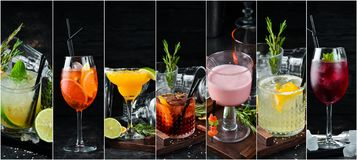 Photo collage Alcoholic colored cocktails and drinks. Top view royalty free stock images