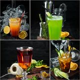Photo collage Alcoholic colored cocktails and drinks. Top view stock image