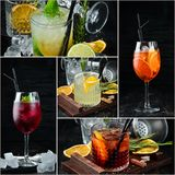 Photo collage Alcoholic colored cocktails and drinks. Top view royalty free stock photo