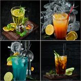 Photo collage Alcoholic colored cocktails and drinks. Top view stock images