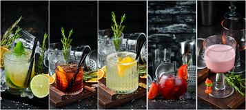 Photo collage Alcoholic colored cocktails and drinks. Top view stock photos