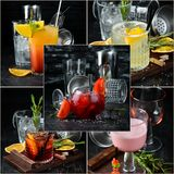 Photo collage Alcoholic colored cocktails and drink. S. Top view stock photos