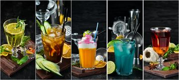 Photo collage Alcoholic colored cocktails and drinks. Top view stock photography