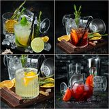 Photo collage Alcoholic colored cocktails and drinks. Top view royalty free stock photography