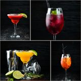 Photo collage Alcoholic colored cocktails and drink. S. Top view royalty free stock photography