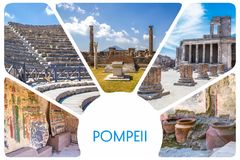 Photo collage from the ancient city of Pompeii - the ruins of antique houses, columns, clay pots, mosaic, frescoes, volcano Vesuvi stock photo