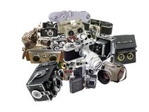 Photo collage of antique and classic photo cameras Stock Image