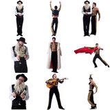 Photo collage of artistic men dressed in costumes Royalty Free Stock Photo