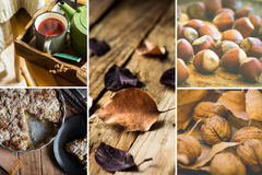 Photo collage, autumn, fall, dry brown red leaves, walnuts hazelnuts, apple cake, mug with red fruit tea, book, cozy atmosphere. Kinfolk, hygge style Stock Image