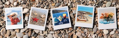 Photo collage of 5 beautiful pictures of happy summer holidays in Greece. Photo collage of 5 beautiful pictures of happy summer holidays in Greece on the beach stock photography