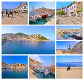 photo collage of Hydra island Greece Stock Photo