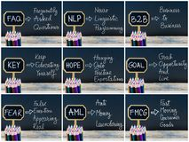 Photo collage of business acronyms written with chalk on wooden mini blackboard labels Stock Photo