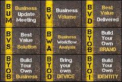 Photo collage of business acronyms. Written over road marking yellow paint line. BUM, BV, BVD, BVS, BWA, BYOB, BYOB, BYOD, BYOI Stock Photo