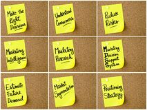 Photo collage of Business and Marketing notes written on yellow paper post-it Stock Images
