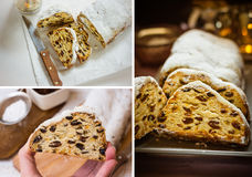 Photo collage, Christmas baking concept, german cake stollen, sliced, dough texture, lit candles, wicker basket Stock Images