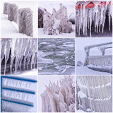 Photo collage of cold winter days with many icicle Stock Image