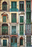 A photo collage of 16 colourful front doors to houses Stock Photography