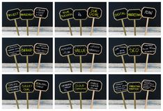 Photo collage of concept messages written with chalk and light bulb as symbol for idea Stock Image