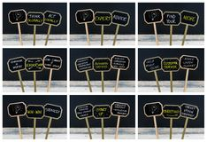 Photo collage of concept messages written with chalk and light bulb as symbol for idea. Photo collage of concept messages written with chalk on wooden mini Royalty Free Stock Image