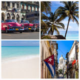 Photo collage Cuba with classic cars beach and Havana Royalty Free Stock Photos