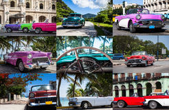 Photo collage from Cuba with vintage cars Royalty Free Stock Image