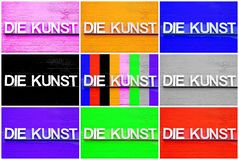 Photo collage of DIE KUNST with different colors royalty free stock photo