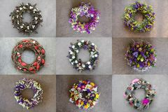 Photo collage of 9 different stylish handmade wreaths for your home door decoration Easter spring holidays creative stock photography