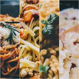 Pasta Photo Collage. Photo collage from four photos with pasta Royalty Free Stock Photos